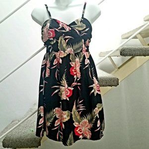 Roxy Tropical Sundress Black & Pink Orchid…